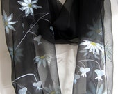 Daisies  on the black background Silk chiffon scarf