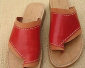 Red Womens Leather Sandal - Open Toe Comfort Footware - Louise style