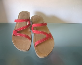 Red Womens Leather Sandal - Open Toe Comfort  - Sushi style