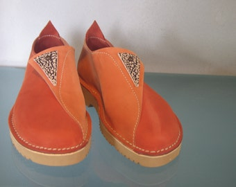 Womens Leather Shoes - Comfort Walking Orange  - Rom