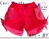 Ceci Shorts for Girls 12M - 8Y - Tie hem - Pleated pockets - Elastic waist -  Easy Sew - PDF Pattern and Instruction