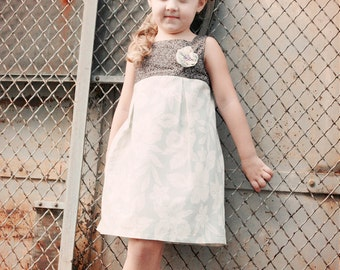 Sasha Jumper Dress for girls 12M-8T- Fall/Winter Jumper-Fully lined bodice -Pleated skirt -Button back- Easy sew PDF pattern instruction
