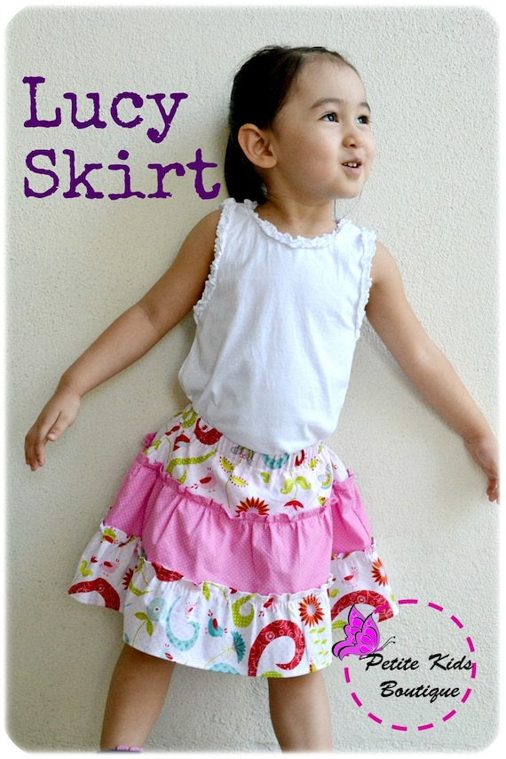 Lucy Skirt for Girls 2Y-10Y PDF Pattern and Instruction-Safety shorts attached- Exposed seams- Tiered twirly skirt-great for summer