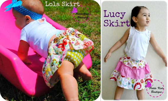 Bundle Pack - Lola Skirt & Lucy Skirt PDF Pattern and Instruction - Newborn-10Y - Easy sew - Bouncy Skirt - Diaper cover and Shorts Attached