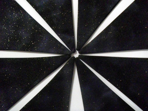 Outer Space bunting, black.  16 flags / 4.5 metres