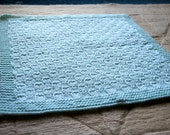 Pale Green Hand-knitted Baby Blanket (17 x 19in / 43 x 48cm)