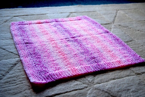 Multi-coloured Pink Hand-knitted Baby Blanket (15 x 16in / 39 x 41cm)