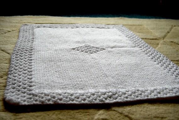 White Diamond Hand-knitted Baby Blanket (16 x 20in / 42 x 52cm)