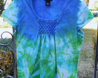 Tie Dyed Seascape Smocked Top