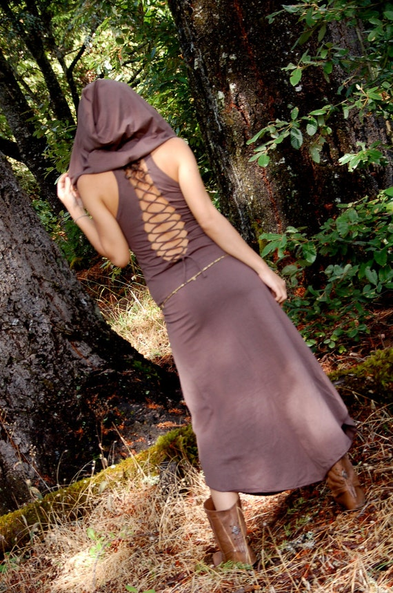 Reserved for Indyatlien The Nienna Dress With Open Back and Big Elf Hood In Brown, gypsy, hippie dress, sexy, elf, elven, fairy, Bohemian