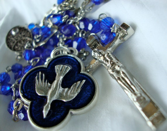 Repurposed Rosary Necklace with Italian Holy Spirit Medal, Crosses, and Vintage Box Clasp