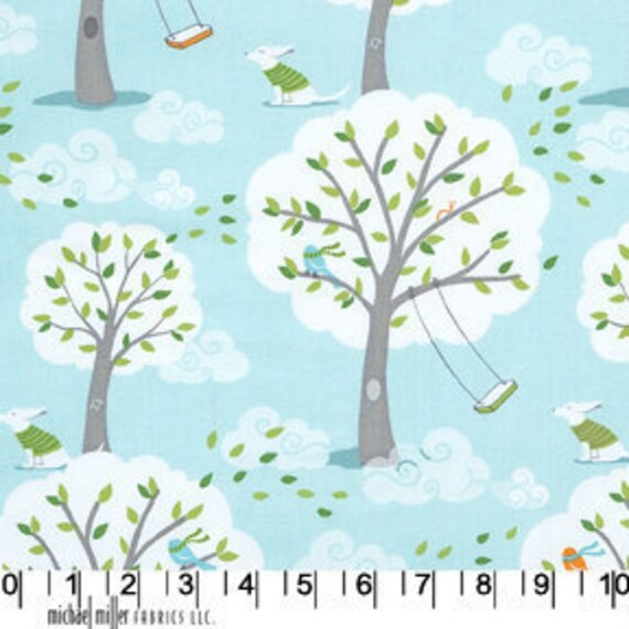 Windy Day in Aqua, Backyard Baby fabric, Patty Sloniger for Michael Miller, 1 yard