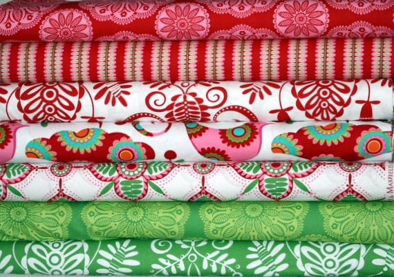 Christmas by Pillow and Maxfield for Michael Miller Fabrics, 6 Fat Quarters (1 and 1/2 Total Yards)