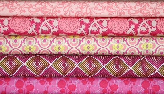 Poetica, Pink Fabric Bundle, Patricia Bravo for Art Gallery Fabrics, 4 Fat Quarters (1 Yard)