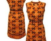 Vintage 1960s Orange Paisley Keyhole Mod Mini Dress