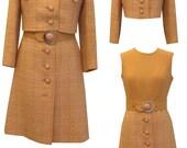 Vintage Mod Wool Suit Dress, Belt and Adorable Cropped Suit Jacket, Mark Russel 1960s