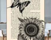 Butterfly over the Sunflower on recycled book page.