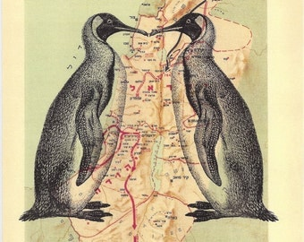 Penguin couple-voyage dictionary vintage-on the reprinted map from a vintage atlas of TANAKH PERIOD maps (hebrew)