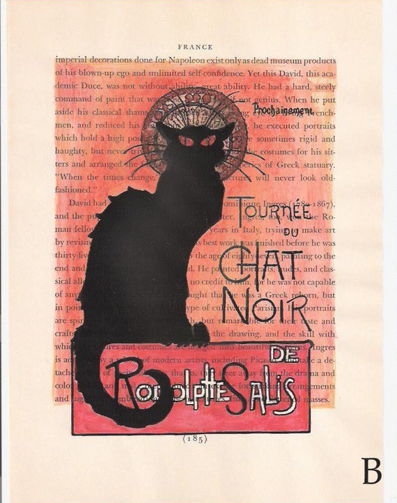 """The Black Cat (""""Le Chat Noir"""") Vintage Book Page Art Print with watercolor painting"""
