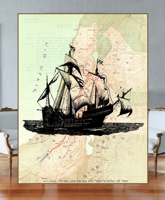 Old-fashion-voyage-dictionary-vintage- Boat reprinted old map- ancient Israel (1200-1010 b.c.) - hebrew