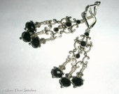 Chandelier Earrings In Silvertone Focal With Swarovski Crystals. Last Pairs Choose Black Or Clear