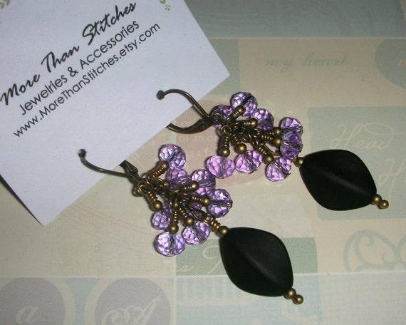 Alexandrite Cluster Earrings. Lilac & Black.