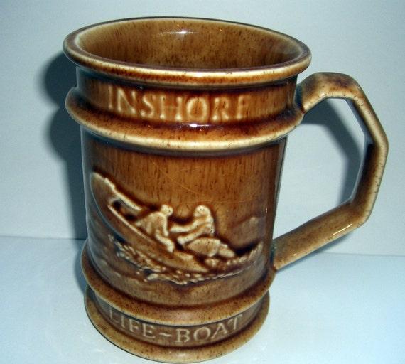Vintage Holkham Pottery R.N.L.I. INSHORE Life-Boat Tankard