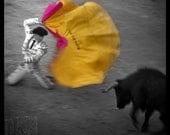 Before the toril - Signed photo 8 x 8 - BOGO sale - Corrida Bullfighting Bulls Torero Matador Bullfight yellow pink folklore