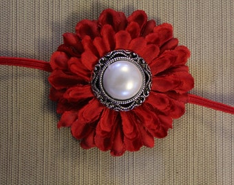 Small beautiful Red Flower Headband with pearl and Silver center