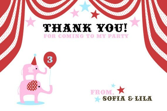 Carnival Birthday Thank You Card Note - Customized Printable File for Circus Party Theme