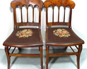 PAIR Antique CHAIRS - American EMPIRE Period - Yew Wood w/ Needlepoint Seats - Free Shipping