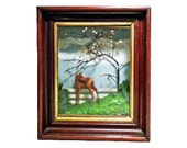 Vintage DIORAMA of a FOAL or COLT in a Corral - beautiful baby horse in Landscape Shadow box - behind glass in oak frame - Free Shipping