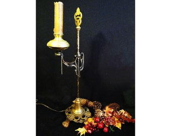 Vintage ART DECO Desk LAMP - 1920s Cast Iron and Brass.  Free Shipping
