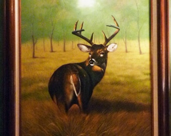 Huge Oil PAINTING LANDSCAPE of a DEER  4 Point White Tailed Buck by Louis LaMar