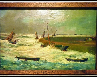 Vintage MARINE Harbor Landscape OIL PAINTING of a Stormy Harbor Signed, dated 1943 - Free Shipping