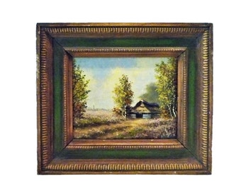 LANDSCAPE OIL PAINTING w/ Thatched Cottage - c1940s Signed.   Free Shipping