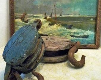 2 Antique PRIMITIVE PULLEYs - Original Blue Paint - Free Shipping