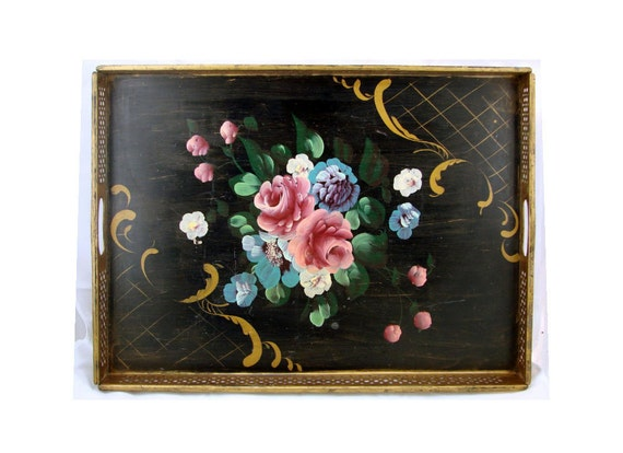 Vintage TOLEWARE TRAY - 1930s Hand Painted Floral with gilded Gallery - Free Shipping - Price Reduced