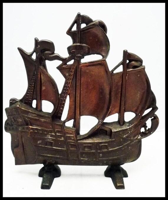 Vintage Cast Iron DOORSTOP: c1920 Sailing Ship Spanish Galleon