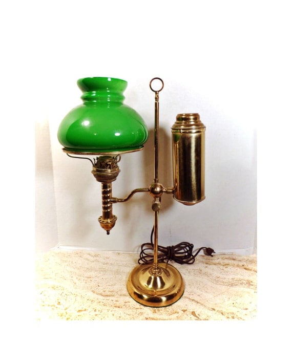 Antique Brass Student Oil Lamp W Green Glass Shade