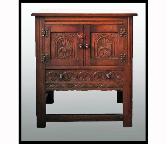Carved OAK GOTHIC CABINET :  Vintage English Gothic Revival made by Bevan Funnel - Free Shipping