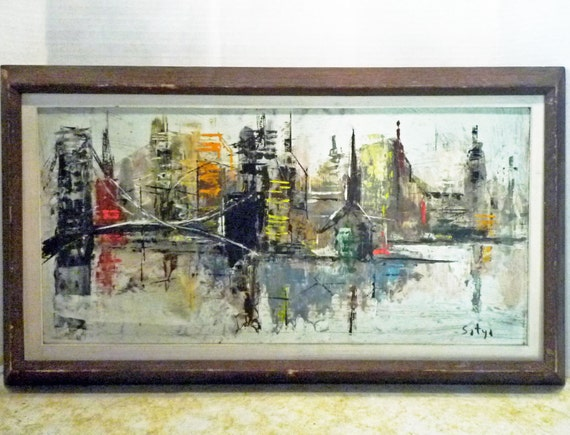 Mid century OIL Painting NYC Skyline & BROOKLYN Bridge Signed Satya - Free Shipping