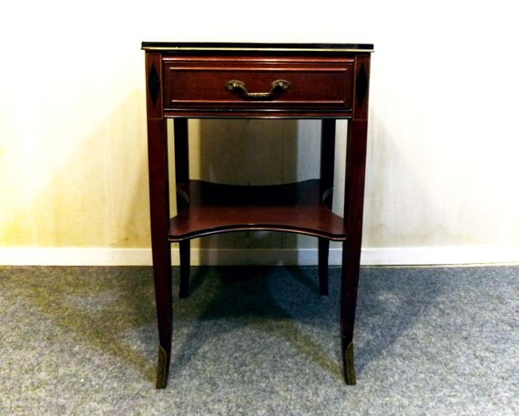 Vintage Mahogany END TABLE with one drawer. ORMOLU Feet.  Made c1920 by Rway of Sheboygan Wisconsin.  Free Shipping
