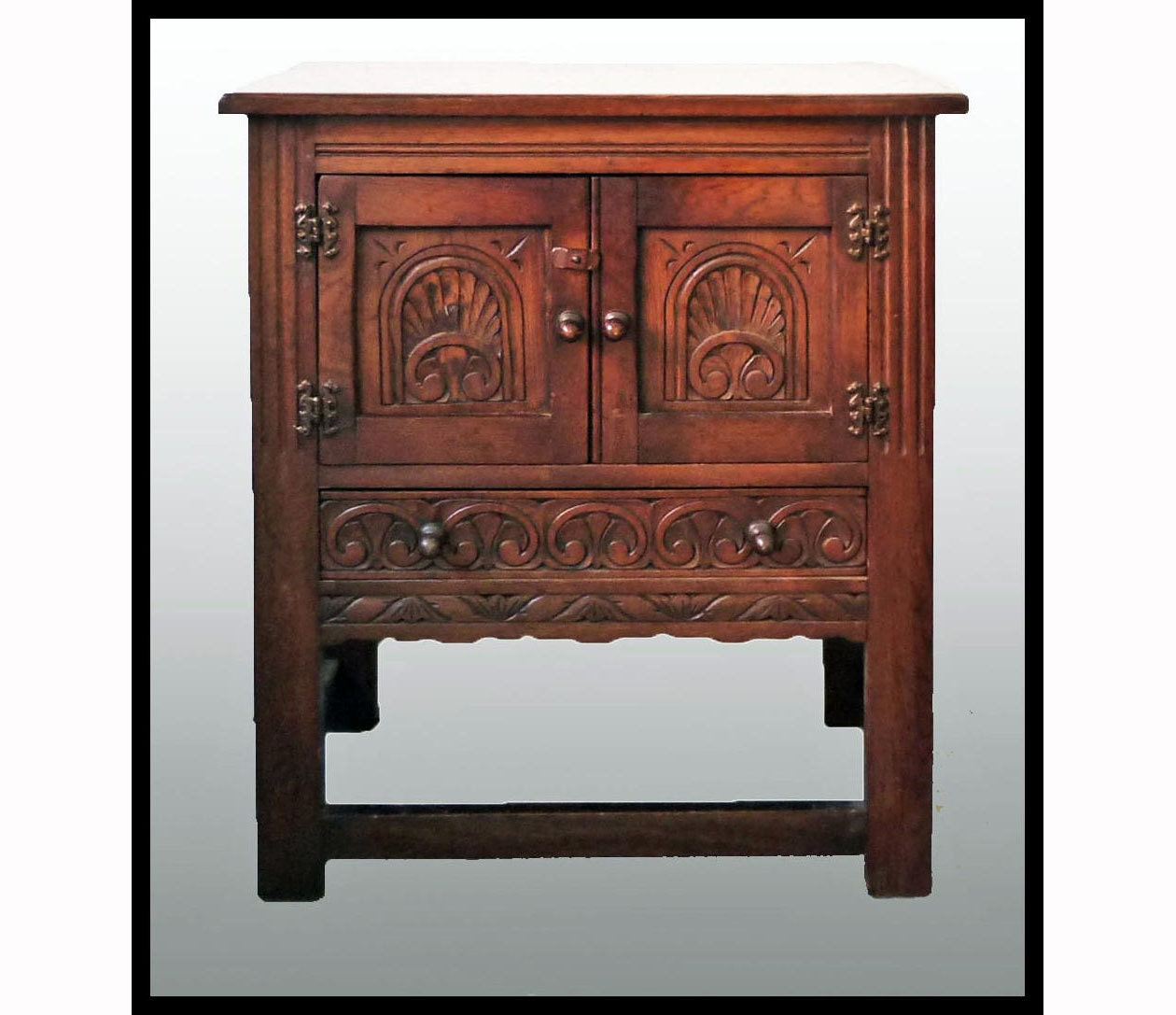 Carved Oak Gothic Cabinet Vintage English Gothic Revival