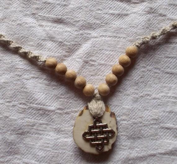 wood pearl,natural, linen metal necklace pendant.