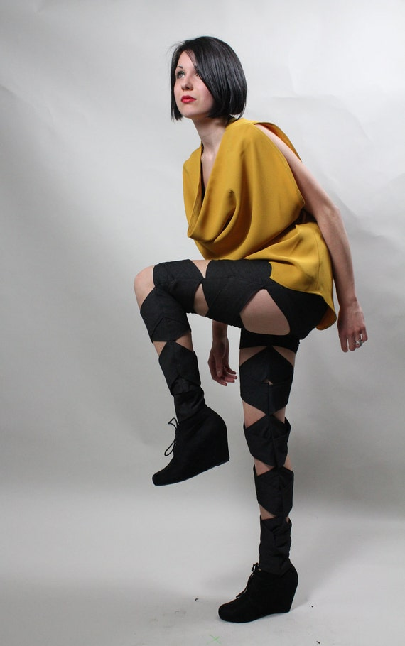 Women's Futuristic Jeans Bandage Pants with built in shorts made to order