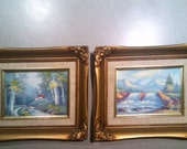 Vintage Oil on Canvas Landscapes - Set of 2 - Waterfalls, Mountians, Rivers and Cabin - Signed by Artist Tony