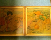 LARGE Paintings on Wood - Artist Muriel Dawson - Pictures of Artistic Merit - Goose Girl and Beach Girl