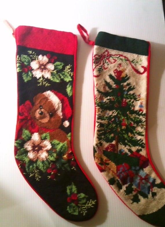 Vintage Handmade Needlepoint Christmas Stockings Large Set