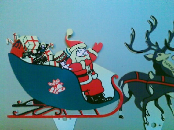 Santa, His Sleigh and Eight Reindeer Outdoor Lawn Ornament Decoration - 1960s